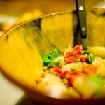 Ensalada de cebolla asada, pimiento y lentejas