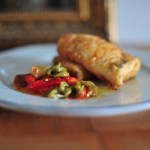 Fried hake with roasted peppers