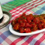 'Salade cuite' de pimientos y tomate