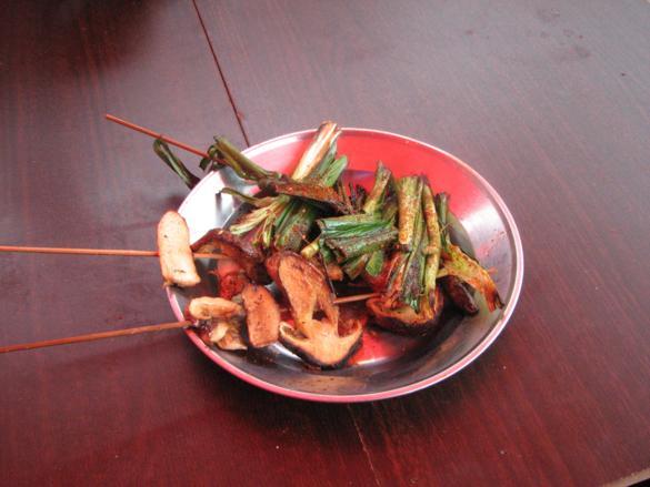 barbacoa verduras setas