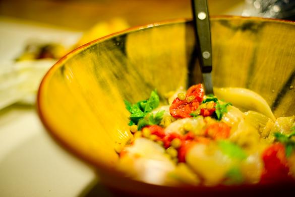 ensalada cebolla pimientos lentejas