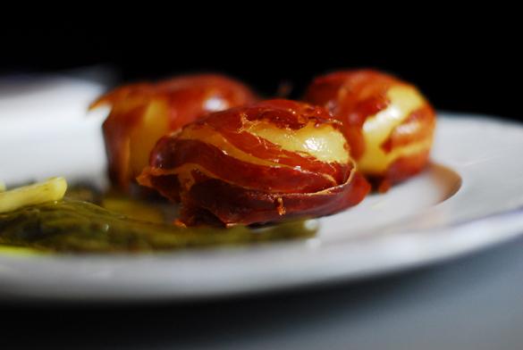patatas envueltas jamon pimientos