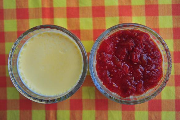 flan queso mermelada tomate