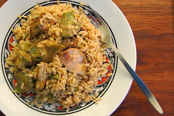 arroz alcachofas pollo