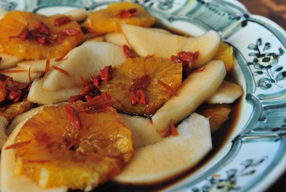 naranjas peras caramelizadas