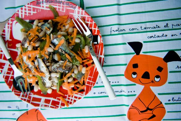 ensalada judias verdes mongetes sardinas