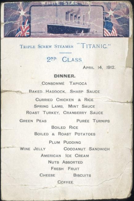 menu titanic segunda clase